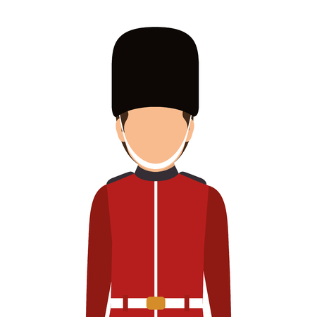 buckingham palace: avatar british guard man. london symbol cartoon. vector illustration Illustration