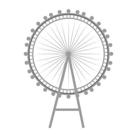 london eye: british london eye wheel iconic english monument. vector illustration