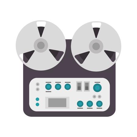 tape recorder: reel tape recorder music audio device. vector illustration