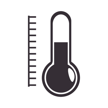instrument of measurement: thermometer with scale measurement temperature instrument. silhouette vector illustration