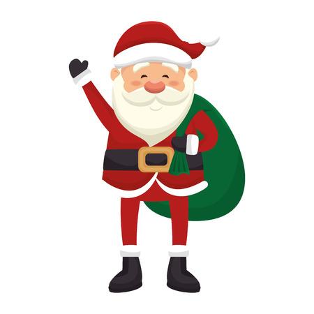 saint nick: santa claus man with green sack. merry christmas season symbol. vector illustration