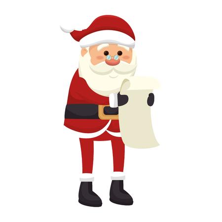 saint nick: santa claus man reading a letter. merry christmas season symbol. vector illustration