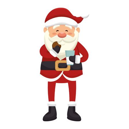 saint nick: santa claus man eating a cookie and drinking milk. merry christmas season symbol. vector illustration