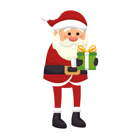 saint nick: santa claus man with a gift box. merry christmas season symbol. vector illustration