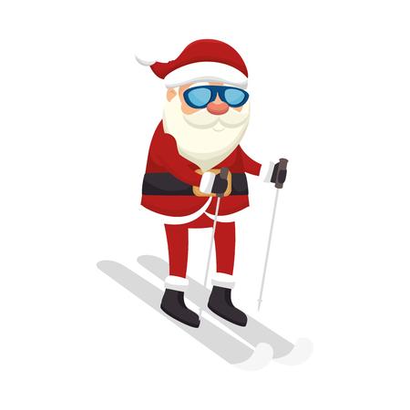 saint nick: santa claus man snowboarding. merry christmas season symbol. vector illustration