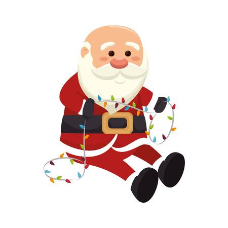 saint nick: santa claus man holding a christmas lights . merry christmas season symbol. vector illustration Illustration