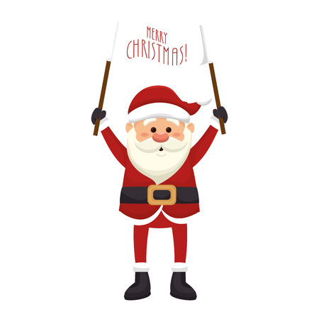saint nick: santa claus man holding a banner . merry christmas season symbol. vector illustration Illustration