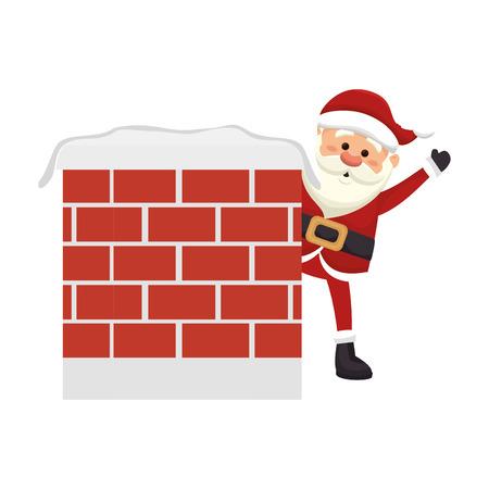 saint nick: santa claus man behind a wall. merry christmas season symbol. vector illustration