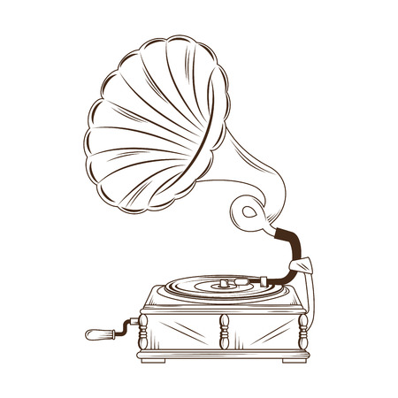 sound box: gramophone vynil musical device. retro music object. vector illustration