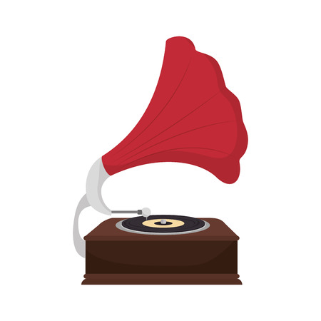 vynil: gramophone vynil musical device. retro music object. vector illustration