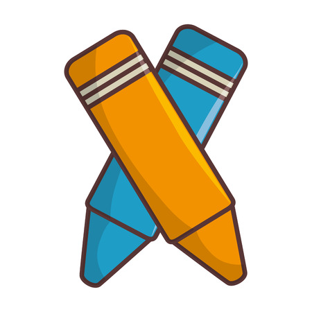 yellow and blue colors pencil writing and drawing object. vector illustration Illustration