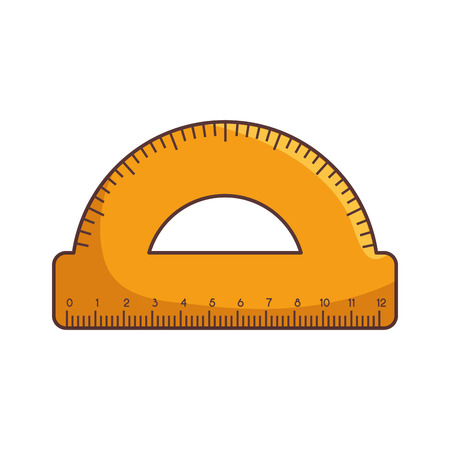 instrument of measurement: compass yellow measurement ruler. geometry school instrument. vector illustration