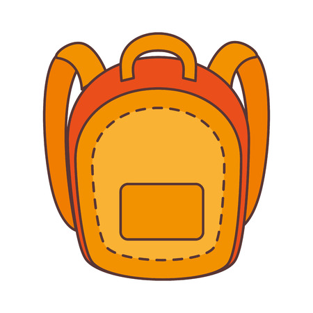 educational tools: yellow school backpack with pocket. education utensil. vector illustration