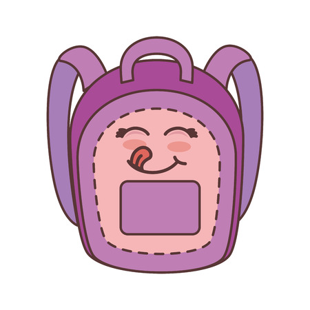 pink and purple school backpack with happy face kawaii  cartoon. vector illustration