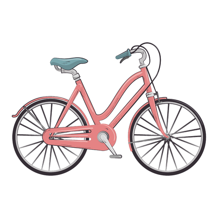 vitality: pink classic bicycle transport vehicle. healthy ride activity. vector illustration