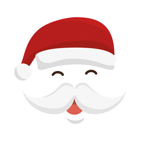 santa claus face with red hat and mustache. christmas character. vector illustration Illustration
