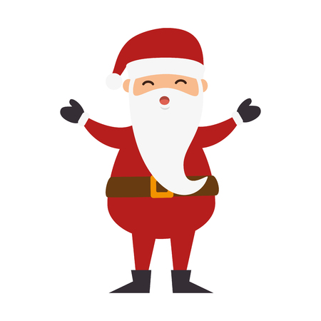 open arms: santa claus man with white beard and open arms. christmas cartoon symbol. vector illustration Illustration