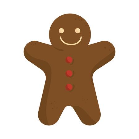 galleta de jengibre: jengibre galleta cara feliz sonriente y botones rojos. símbolo de la Navidad. ilustración vectorial