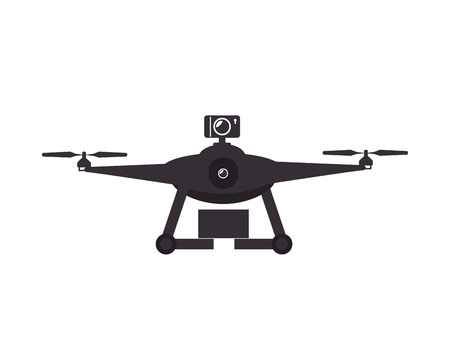 unmanned: drone device unmanned aircraft  with portable camera. silhouette vector illustration