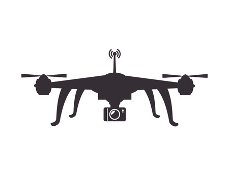 stability: drone device unmanned aircraft  with portable camera. silhouette vector illustration