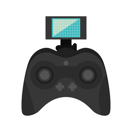 navigation buttons: game portable control with joystick navigation buttons and screen. vector illustration