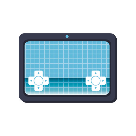 navigation buttons: tablet techonology device with digital control and navigation buttons. vector illustration