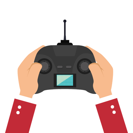 hand holding a game portable control with joystick navigation buttons and screen. vector illustration Illustration