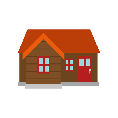 log cabin. wooden house with orange roof and red doors  windows. vector illustration