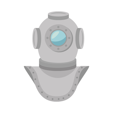 aqualung: metal aqualung antique diving underwater equipment. vector illustration