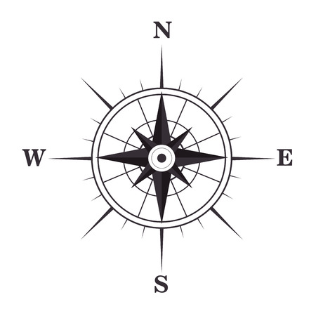 navigation object: retro nautical compass symbol. geography navigation object. vector illustration