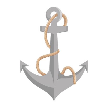 navy metal anchor marine ocean equipment. vector illustration