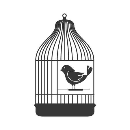 birdcage: birdcage with a little bird animal. silhouette vector illustration