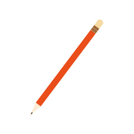 orange pencil to writing and drawing. element of school or office. vector illustration Illustration