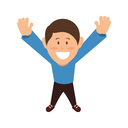 blue shirt: cartoon boy smiling with hands up wearing blue shirt. vector illustration