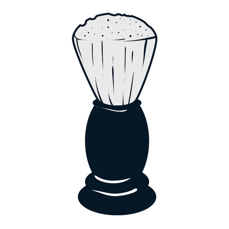 shaving brush: classic shaving brush. barber shop equipment. vector illustration