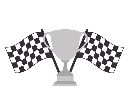 two crossed checkered flags: checkered flags and metal trophy winner cup. vector illustration