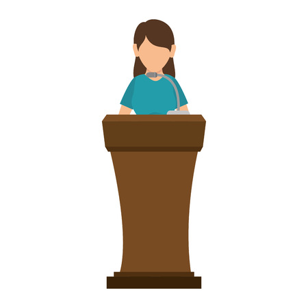orator: avatar orator woman in a speech communication podium wooden pedestal with microphone. vector illustration
