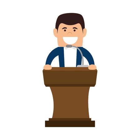 orator: avatar orator man in a speech communication podium wooden pedestal with microphone. vector illustration