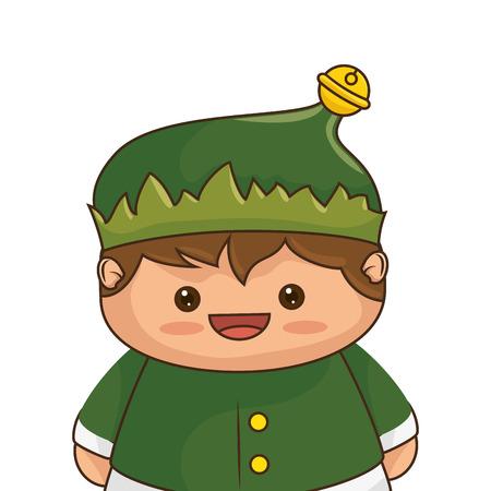 helper: Christmas elf kawaii cartoon character santa helper smiling. vector illustration