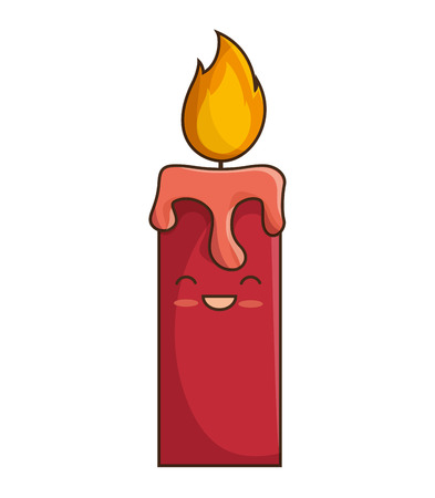cartoon candle fire light with face smiling. vector illustration
