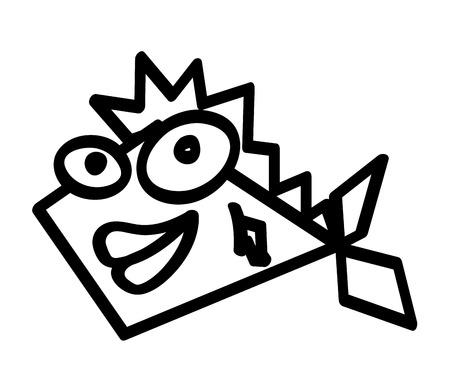 fish funny character comic vector illustration design