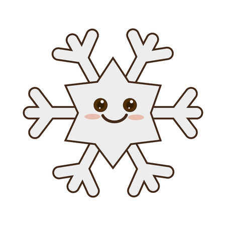winter cute snowflake  cartoon with happy face smiling. vector illustration Ilustrace