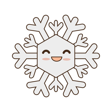 snowdrift: winter cute snowflake  cartoon with happy face smiling. vector illustration Illustration