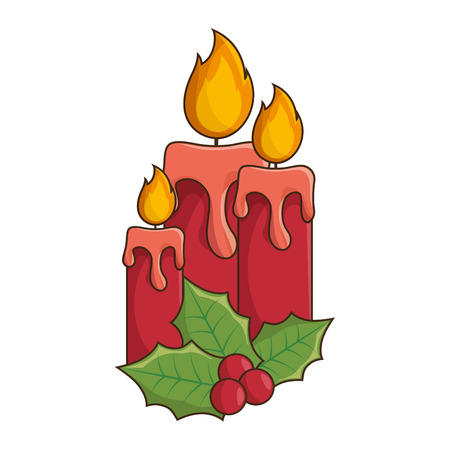 candle flame: red candle flame fire light with holy berry decoration. vector illustration