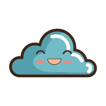 cartoon cloud: blue cloud  cartoon with happy face smiling. vector illustration