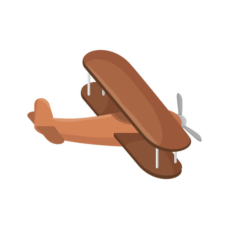 airplane wooden flying. aviation object. vector illustration Illustration