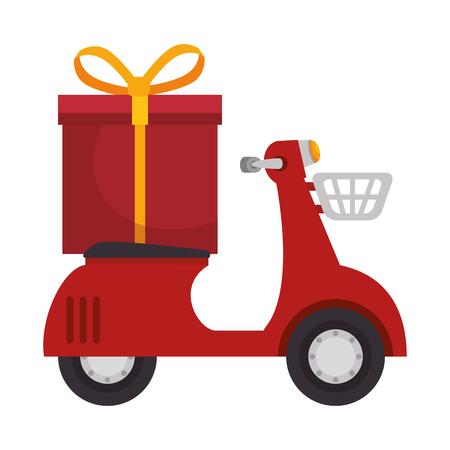 rode scooter motorfiets met een geschenkdoos en geel lint. vectorillustratie