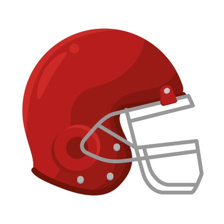 casco rojo: casco rojo de fútbol americano. equipos de protección para la cabeza. ilustración vectorial
