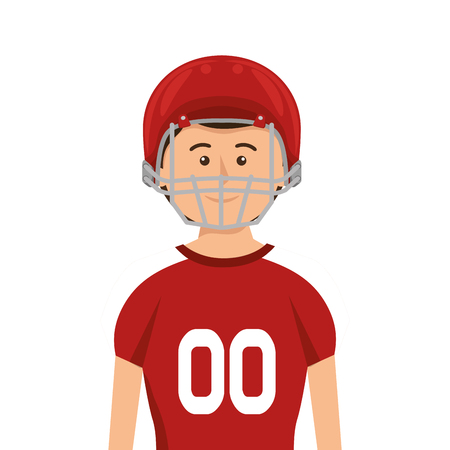 avatar man american football player with uniform and protection equipment. vector illustration