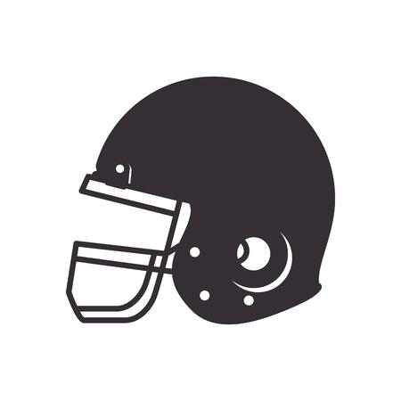 head protection: helmet american football. head protection equipment. silhouette vector illustration